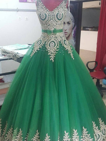 A-line V neck Hunter Prom Dresses Quinceanera Elegant Evening Dresses AMY2729