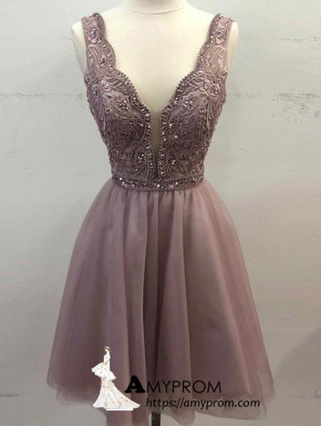 A-line V neck Short Prom Dress Chiffon Cute Lace Homecoming Dress Short Formal Gowns AMY2744
