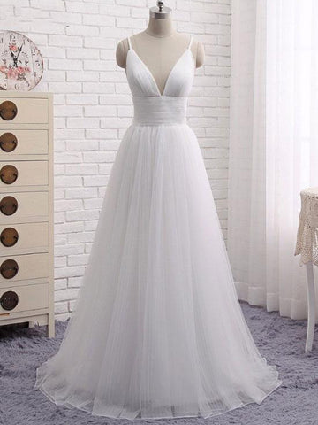 2018 A-line Prom Dresses White Spaghetti Straps Simple Long Prom Dress Evening Dresses AMY274