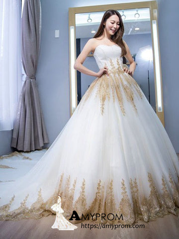 Chic Sweetheart Prom Dress White and Gold Sweep/Brush Train Long Evening Dress Elegant Formal Gowns AMY2752
