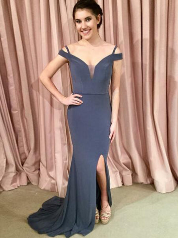 2018 Mermaid Prom Dresses With Straps Gray Simple Long Prom Dress Evening Dresses AMY275