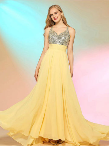 A-line Straps Long Prom Dresses Daffodil Beading Flowy Chiffon Evening Dress AMY2766