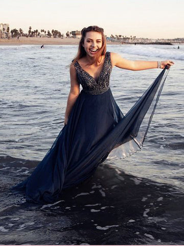 A-line V neck Dark Navy Long Prom Dresses Beading Flowy Chiffon Evening Dress AMY2768