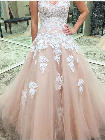 A-line Sweetheart Pearl Pink Lace Prom Dresses Long Evening Gowns AMY2769