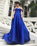 2018 A-line Prom Dresses Off-the-shoulder Royal Blue Simple Long Prom Dress Evening Dresses AMY277