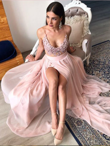 A-line Spaghetti Straps Pink Lace Slit Prom Dresses Long Evening Gowns AMY2770