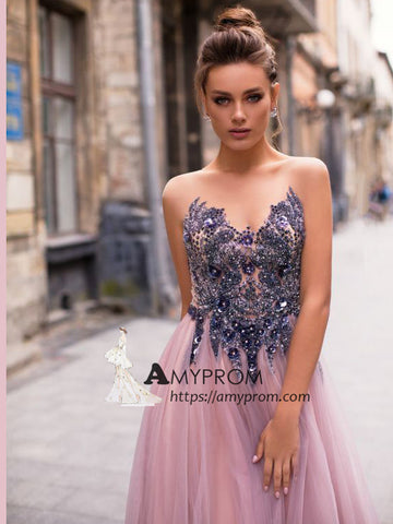 A-line Scoop Sparkly Prom Dress Beaded Long Prom Dress Elegant Evening Gowns AMY2777