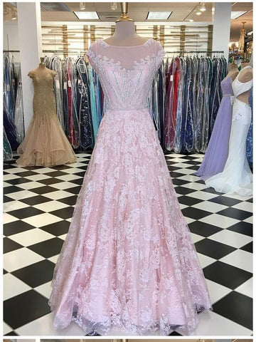 A-line Blush Pink Lace Long Prom Dresses Cap Sleeve Beautiful Evening Dresses AMY2798