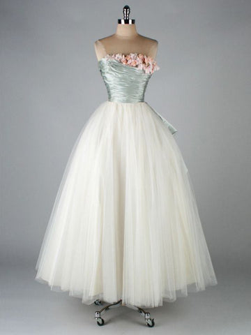 Strapless Vintage Prom Dresses A-line Ruffles Ankle-length Evening Gowns AMY2808