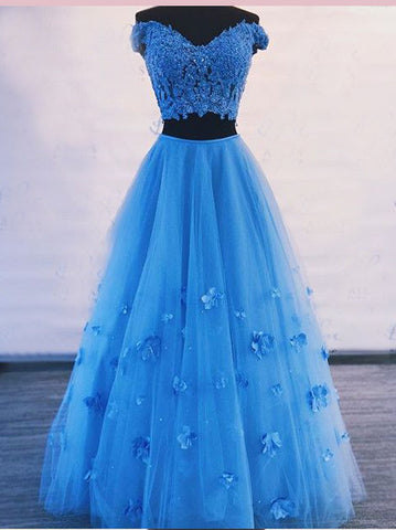 Two Pieces Long  Prom Dresses Off-the-Shoulder Blue Floor-length Lace Evening Dress AMY2812