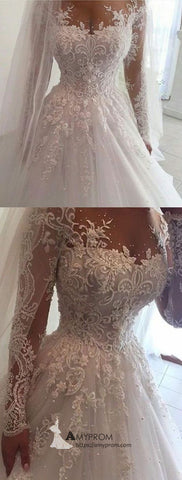 Beautiful Lace Wedding Dresses With Sleeves Scoop Winter Wedding Dress Bridal Gowns AMY2823