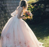 Spaghetti Straps Floral Wedding Dress Boho Wedding Formal Gowns With Bowknot Dress Bridal Gowns AMY2824