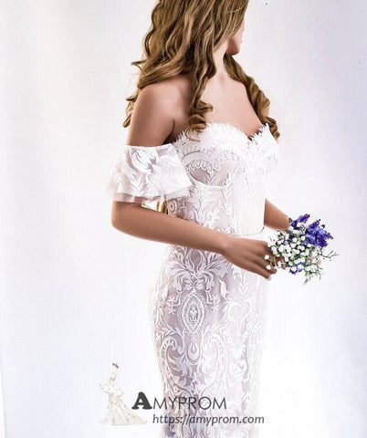Trumpet/Mermaid Lace Wedding Dresses Off-the-shoulder Romantic Wedding Dress Bridal Gowns AMY2825