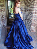 2018 Blue Long Prom Dresses Halter A-line Beading Cheap Prom Dress Evening Dresses AMY282