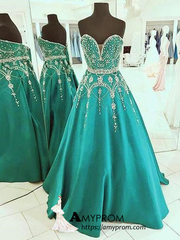 Chic Sweetheart Long Prom Dress Beaded Vintage Evening Dress Elegant Formal Gowns AMY2830