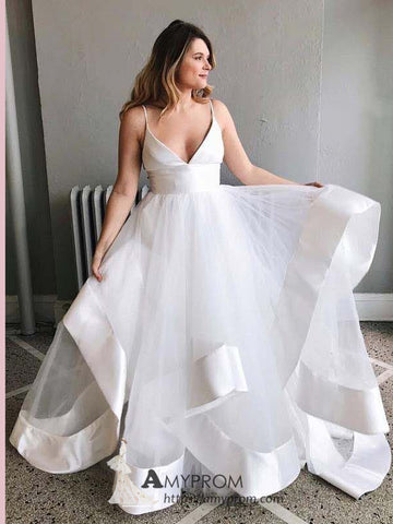 A-line Spaghetti Straps White Prom Dresses Unique Simple Evening Dress Elegant Formal Gowns AMY2831