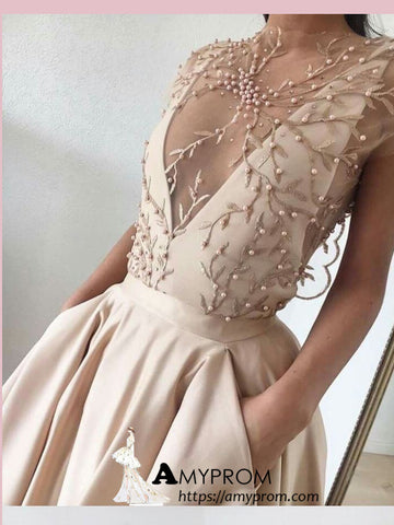 Chic High Neck Long Prom Dress Beaded Lace Evening Dress Elegant Formal Gowns AMY2832