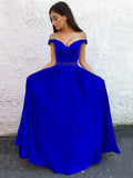 2018 Royal Blue Long Prom Dresses Off-the-shoulder A-line Cheap Prom Dress Evening Dresses AMY283