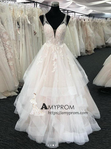 Romantic Wedding Dress With Straps Classic Lace Wedding Gowns Elegant Bridal Gowns AMY2843