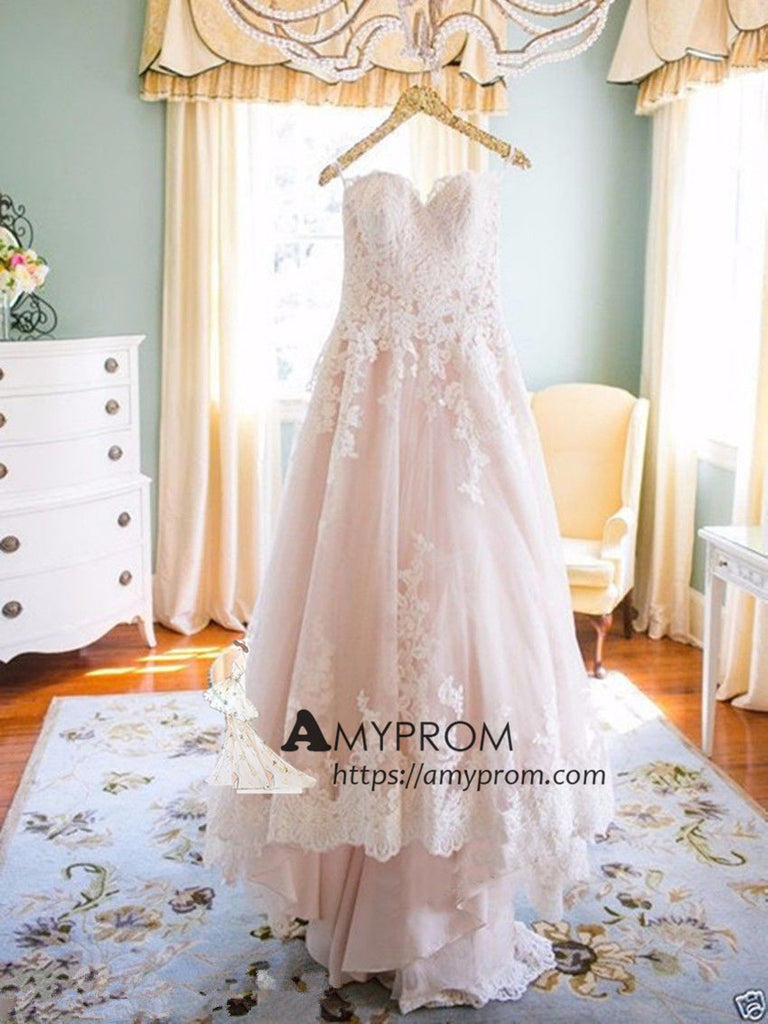 Romantic Sweetheart Blush Pink Wedding Dress With Lace Elegant Wedding Gowns Bridal Gowns AMY2845