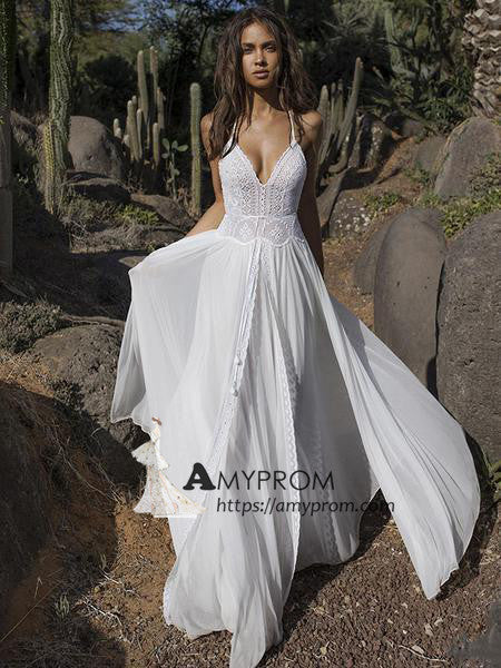 Romantic Spaghetti Straps Boho Wedding Dress Summer Lace Open Back Wedding Gowns Bridal Gowns Amy2846