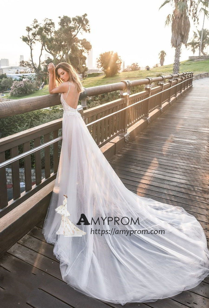 a5a6a16e30 ... Romantic Spaghetti Straps Boho Wedding Dress Summer Lace Open Back  Wedding Gowns Bridal Gowns AMY2847 ...