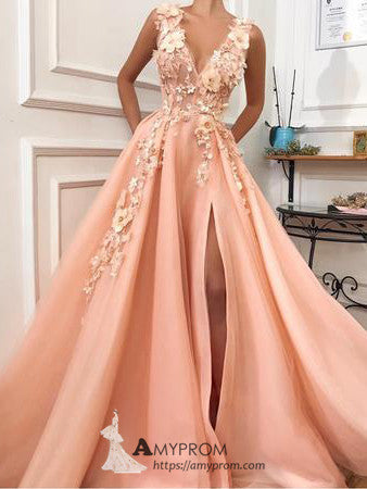 A-line V neck Peach Prom Dresses With Slit Evening Dress Applique Elegant Formal Gowns AMY2848