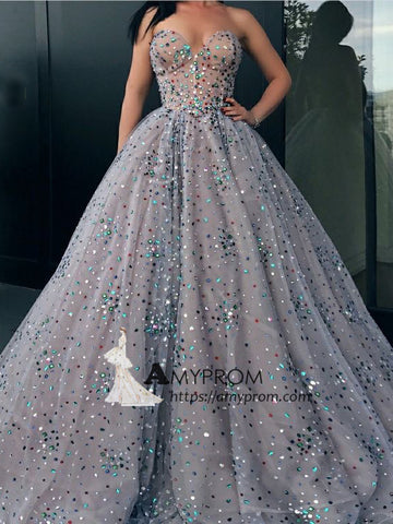 A-line Sweetheart Silver Sparkly Prom Dress With Rhinestone Long Prom Dress Elegant Evening Gowns AMY2848