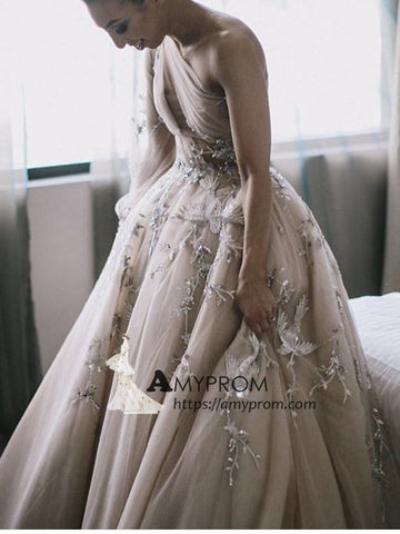 One Shoulder Long Prom Dress Beautiful Lace Long Prom Gowns Elegant Evening Gowns AMY2849