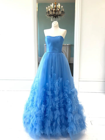 Vintage Long Blue Prom Dresses Simple Strapless Evening Gowns Formal Dresses AMY2849