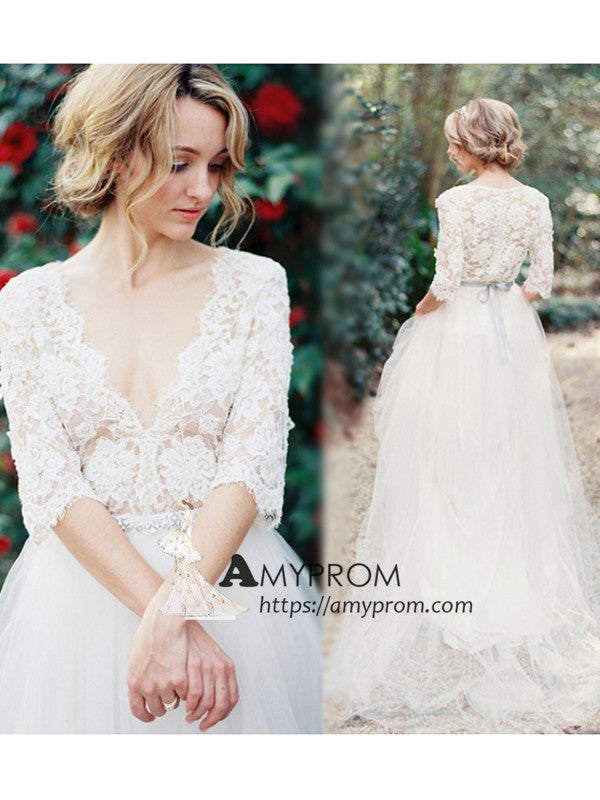 4dc14f4a838 Deep V neck Lace Wedding Dress Half Sleeve Romantic Cheap Wedding Gowns  Bridal Gowns AMY2850