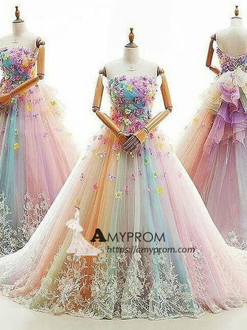 A-line Strapless Ombre Long Prom Dress  Long Prom Dress Elegant Evening Gowns AMY2851