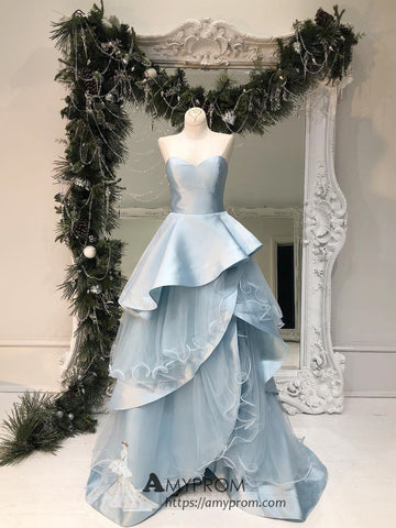 Light Sky Blue Sweetheart Prom Dresses With Flouncing Simple Evening Dress Elegant Formal Gowns AMY2853