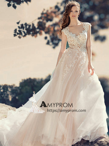 Cap Sleeve V neck Lace Wedding Dress Romantic Beach Wedding Gowns Bridal Gowns AMY2853