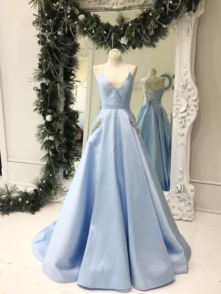 Light Sky Blue Cute Prom Dresses Spaghetti Straps Affordable Beaded