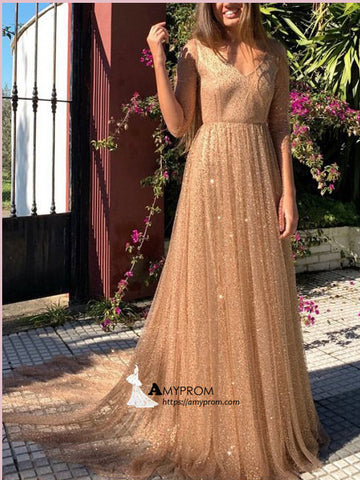 V neck Sparkly Long Prom Dress Half Sleeve Gorgeous Long Prom Gowns Elegant Evening Gowns AMY2856