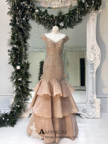 Trumpet/Mermaid Off-the-shoulder Lace Prom Dresses Brown Evening Dress Elegant Formal Gowns AMY2857