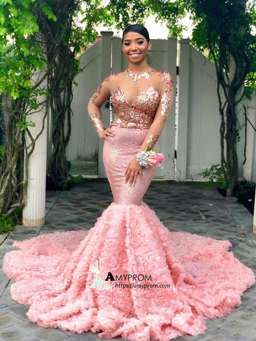 Trumpet/Mermaid Pink Long Prom Dress Long Sleeve African Prom Gowns Elegant Evening Gowns AMY2859