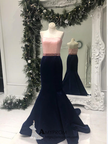 Mermaid Pearl Pink and Dark Navy Prom Dresses Unique Simple Evening Dress Elegant Formal Gowns AMY2859