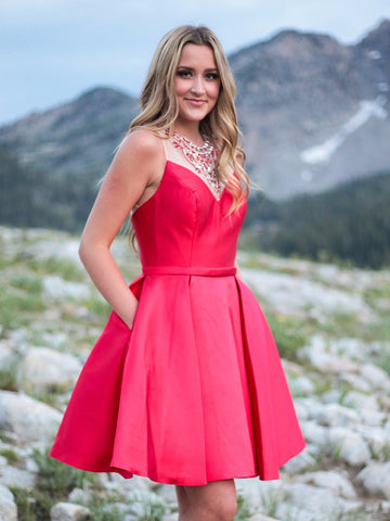 2018 A-line Short Prom Dresses Scoop Beading Red Cocktail Dress Homecoming Dresses AMY285