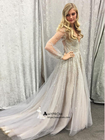 Silver Long Prom Dress Sparkly Long Sleeve V neck Prom Dress Elegant Evening Gowns AMY2860