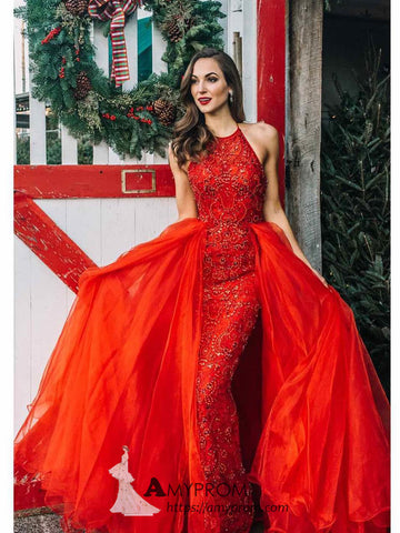 Mermaid Red Sparkly Prom Dresses Unique Spaghetti Straps Evening Dress Beaded Formal Gowns AMY2860
