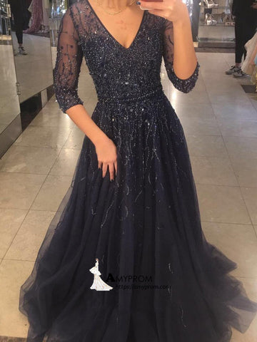 Dark Navy Long Prom Dress Sparkly Half Sleeve V neck Prom Dress Elegant Evening Gowns AMY2861