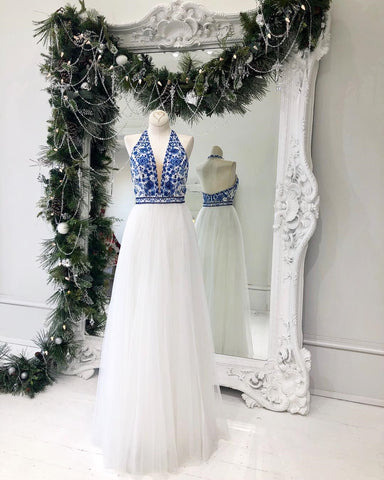 Royal Blue Halter Long Prom Dresses V neck White Tulle Prom Girl Dresses Long Evening Gowns Formal Dress AMY2861