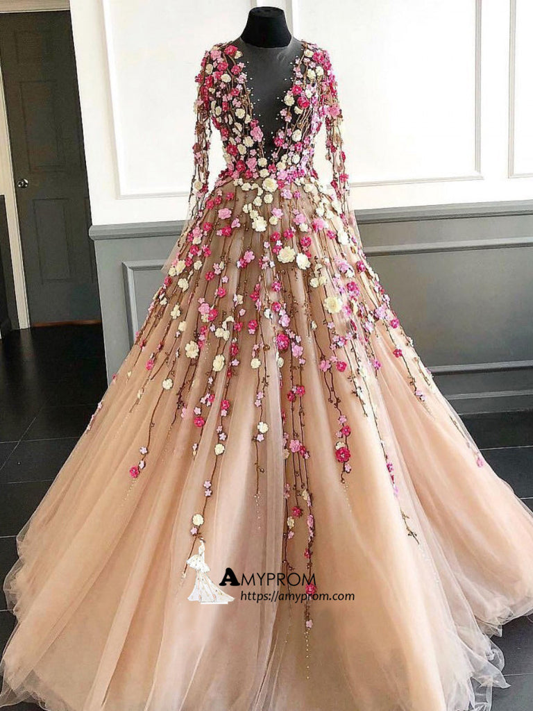 7327492627 Beautiful Floral Long Prom Dress Scoop Lace Gorgeous Long Prom Dress  Elegant Evening Gowns AMY2863
