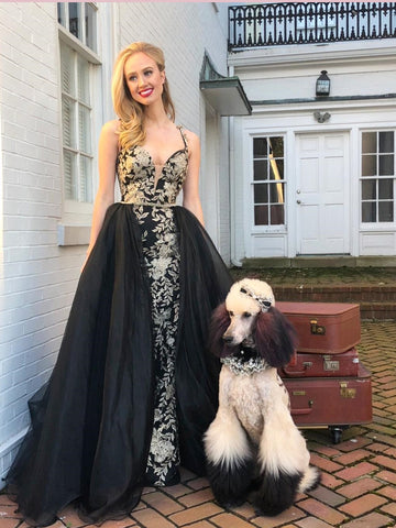 Gold and Black Long Prom Dresses With Applique Beautiful Evening Dress Celebrity Long Formal Gowns AMY2863