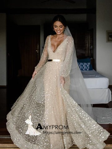 Sparkly Lace Wedding Dresses V neck Long Sleeve Romantic Wedding Dress Bridal Gowns AMY2864