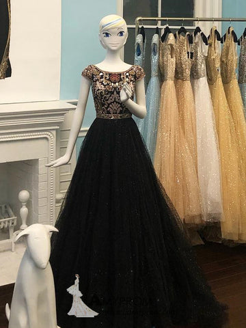 Black Beaded Prom Dresses Unique Scoop Cap Sleeve Elegant Evening Dress Formal Gowns AMY2864