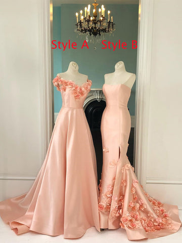 A-line Pearl Pink Long Prom Dresses With Applique Sweep/Brush Train Vintage Evening Gowns Formal Dress AMY2865
