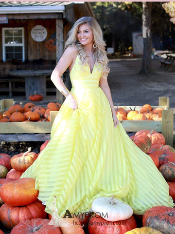 Yellow V neck Prom Dresses Unique Simple Elegant Evening Gowns Formal Dress AMY2866